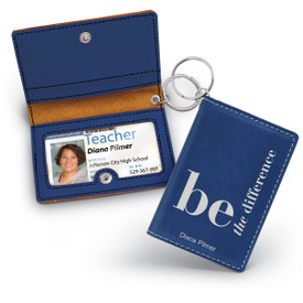 blue leather id holder with be the difference message