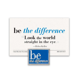 be the difference lapel pin with blue background and message card