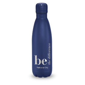 navy stainless steel water bottle with be the difference message