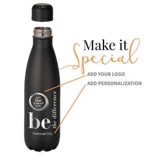 black stainless steel water bottle with be the difference message and add your logo