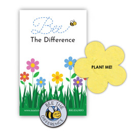 Bee the Difference lapel pin with presentation card and flower shape seed paper