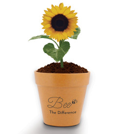 "This Mini Flower Pot Kit With Sunflower Seeds Features The Inspirational Message ""Bee The Difference"""