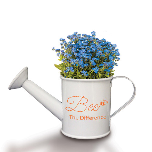"""This Mini Watering Can Kit With Forget-Me-Not Seeds Features The Inspirational Message """"Bee The Difference"""""""