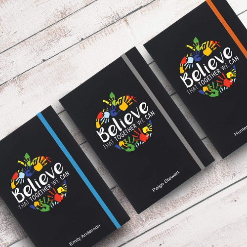 believe black journals with multiple accent colors and personalization