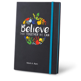 believe black journal with red accents and personalization