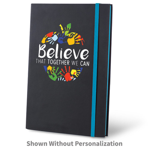 believe black journal with blue accents