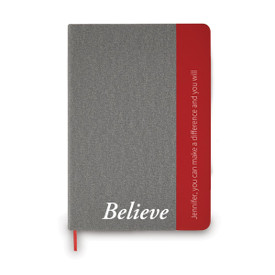 heather gray journal with red accents and believe message