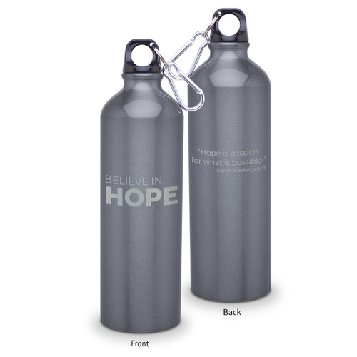 24oz. carabiner canteen featuring the inspirational message Believe In Hope. 5 colors to choose from.