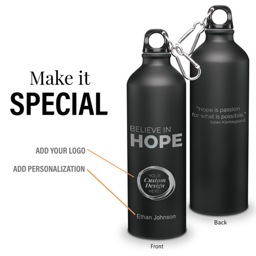 believe in hope 24 oz carabiner canteen with add your logo and personalization