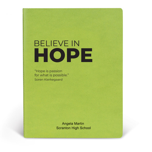ApPEEL Grande Journal featuring the inspirational message Believe In Hope. 3 colors to choose from.