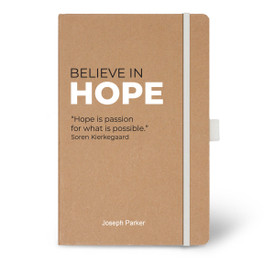 Eco-Friendly Hardbound Journal Featuring the Inspirational Message Believe In Hope. 5 colors to choose from.