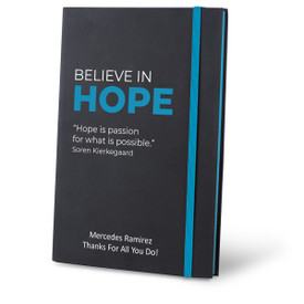 Matte Black Hardbound Journal Featuring the Inspirational Message Believe In Hope. 5 colors to choose from.