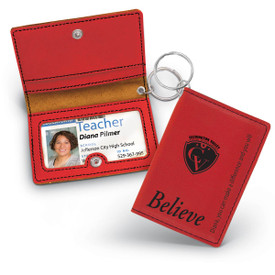black leather id holder with believe message