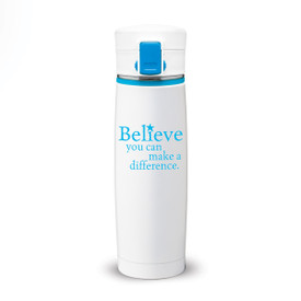 white stainless steel bottle with locking lid and believ message