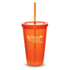 orange twist-top tumbler with straw and believe message
