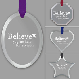 different shapes of crystal ornament with believe message and satin ribbon