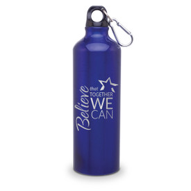 24oz. carabiner canteen featuring the inspirational message Believe That Together We Can. 5 colors to choose from.