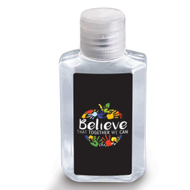 "2 oz. Antibacterial Hand Sanitizer Gel Featuring The Inspirational Message ""Believe That Together We Can"""