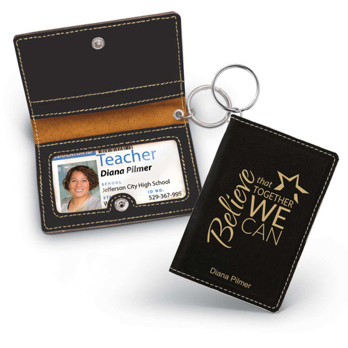 black leather id holder with believe that together we can message