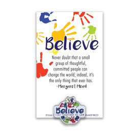 believe that together we can lapel pin with message card