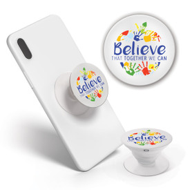 This Pop-Out Phone Grip featuring the inspirational Believe That Together We Can message is the perfect functional gift for teachers.