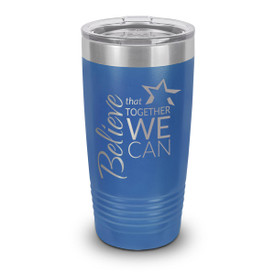 blue stainless steel tumbler with believe message and personalization