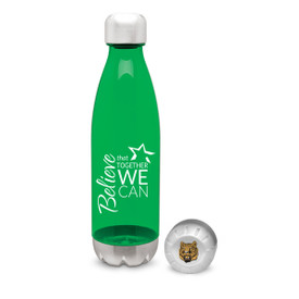 green 25 oz. plastic water bottle with stainless steel base & cap with believe that together we can message and logo