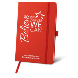 red journal with believe message and personalization