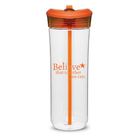 clear plastic water bottle with orange flip-up spout and believe message