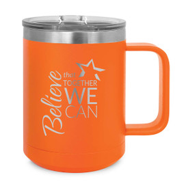 orange stainless steel mug with believe message