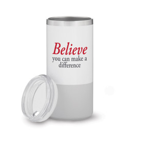 white and grey stainless steel tumbler with believe message