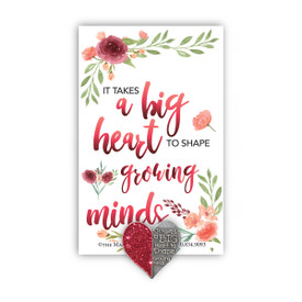 Big Hearts Shape Growing Minds Lapel Pin With Presentation Card