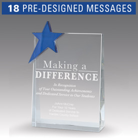 blue star optic crystal tower award with making a difference message