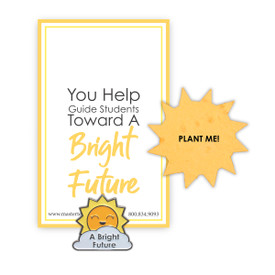 Bright Future lapel pin with presentation card and sun shape seed paper