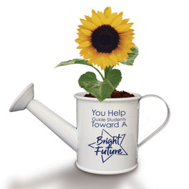 "This Mini Watering Can Kit With Sunflower Seeds Features The Inspirational Message ""You Help Guide Students Toward A Bright Future"""