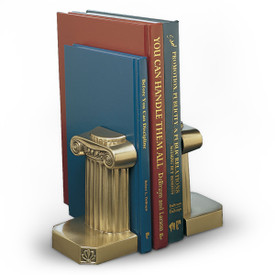 antique brass-finished building the foundation bookends