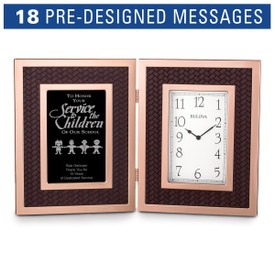 Bulova Large Rose Gold Framed Clock featuring embossed woven accents and etched pre-designed recognition sayings.