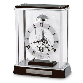 Bulova Vantage Clock featuring chrome-finished metal skeleton movement