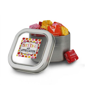square tin with bursting with appreciation message and individually wrapped starbursts