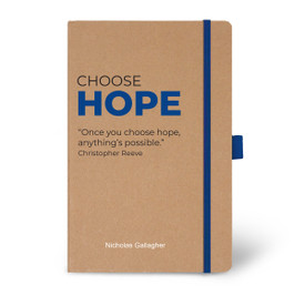 Eco-Friendly Hardbound Journal Featuring the Inspirational Message Choose Hope. 5 colors to choose from.