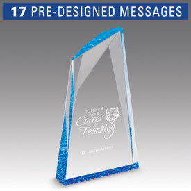 career in education message on an acrylic summit award with purple accent