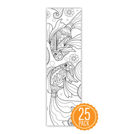 """2"""" x 8"""" Coloring Bookmark For Students Featuring Goldfish On The Front"""