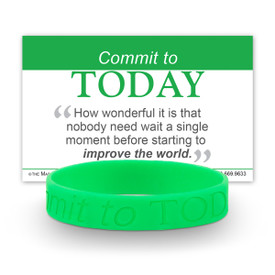 commit to today green silicone wristband and message card