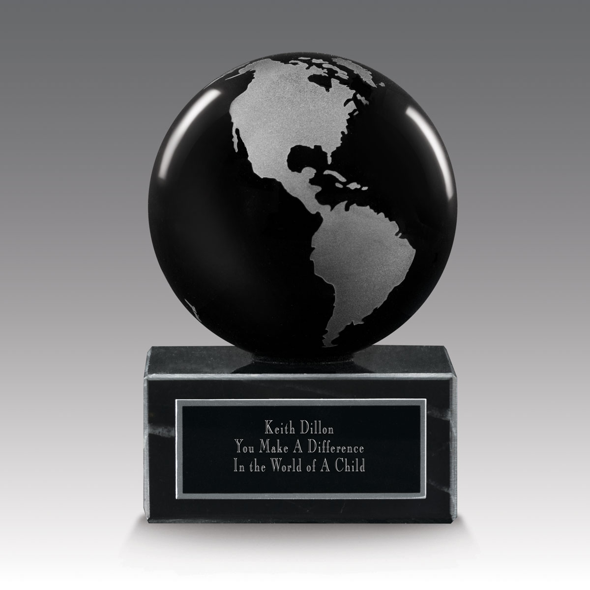 black solid crystal globe base award
