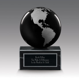 black solid crystal globe base award
