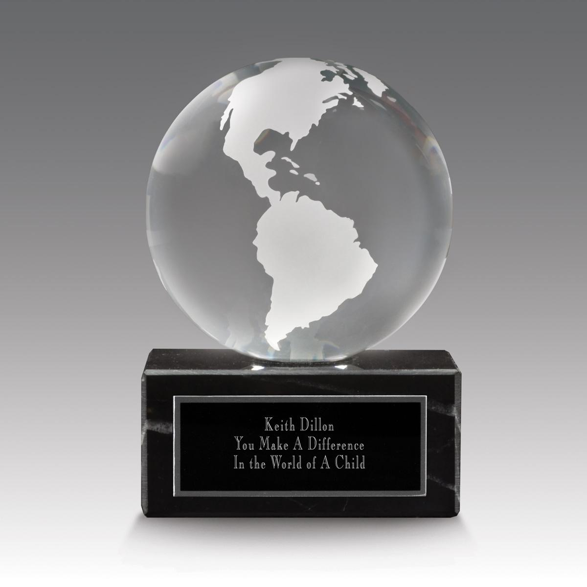 clear solid crystal globe base award