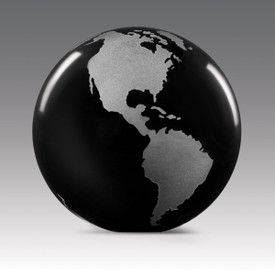black solid crystal globe paperweight