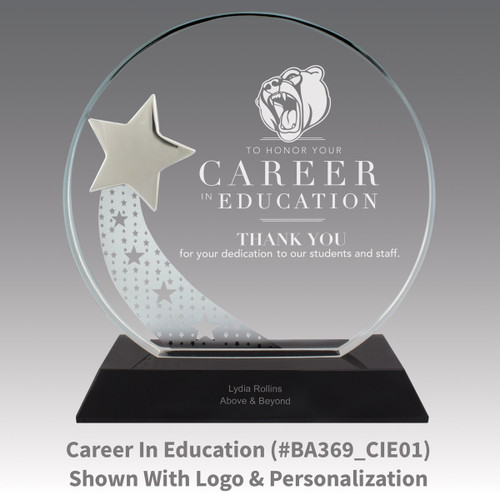 optic crystal base award with a silver star and career in education message