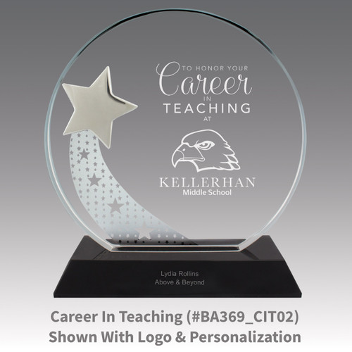optic crystal base award with a silver star and career in teaching message