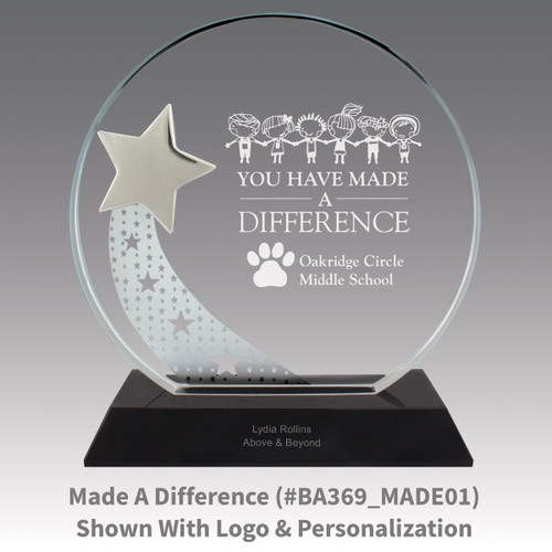 optic crystal base award with a silver star and made a difference message